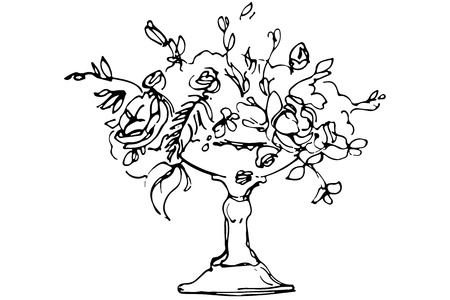 bunch flowers: black and white vector sketch of a bouquet of roses in a crystal vase