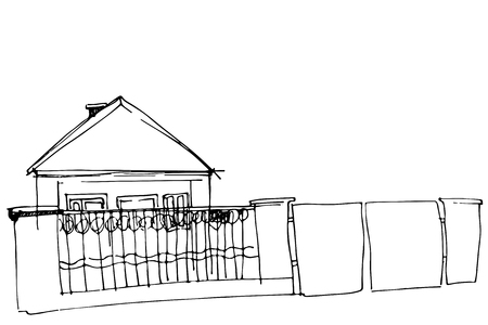 iron fence: black and white vector sketch of a house behind an iron fence with a gate
