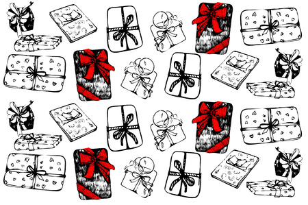tied: black and white vector sketch of a gift box tied with a ribbon