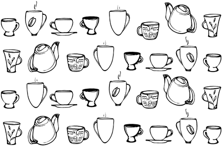 porcelain: black and white vector sketch of a porcelain coffee cup