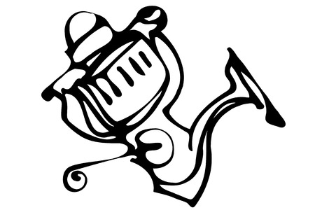 black and white vector sketch of fast-response Fishing Reels