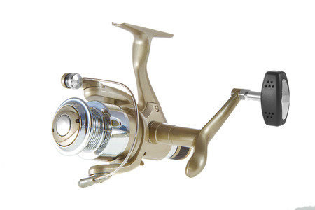 fishing reel: Image isolated object on a white background fishing reel