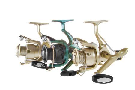 aluminum rod: Image isolated object on a white background fishing reel