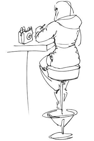 high chair: black and white vector sketch of a girl sitting at a table in a cafe on a high chair with his back to us