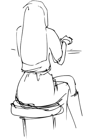 'one woman only': black and white vector sketch of blonde girl sitting in a cafe with his back to usb