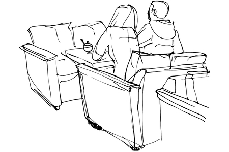 two friends talking: black and white vector sketch of man and woman sitting on a couch in a cafe