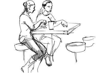 two friends: black and white vector sketch of two friends at a table in a cafe