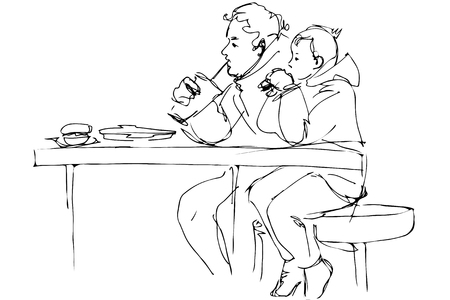 dad son: black and white vector sketch father and son at the table in a cafe Illustration