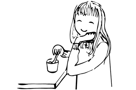 only baby girls: black and white vector sketch of a girl drinking tea