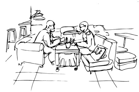middle aged couple: black and white vector sketch of two friends on a couch in a cafe
