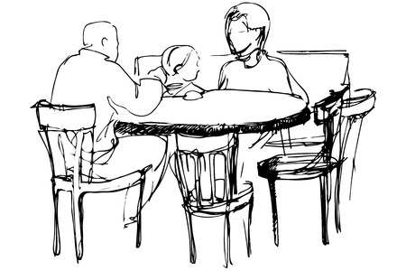 feed back: black and white vector sketch of father and mother with her daughter at a table in a cafes