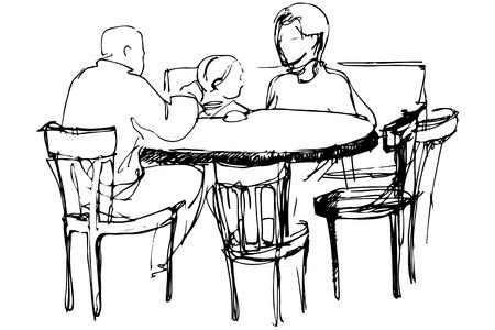 vecteur noir et blanc croquis de père et mère avec sa fille à une table dans un des cafés