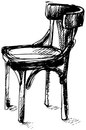wood chair: black and white vector sketch of Viennese bent wood chair