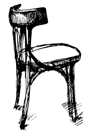 single seat: black and white vector sketch of Viennese bent wood chair