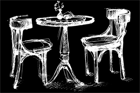 sitting at table: black and white vector sketch of a round wooden table and two chairs in Vienna