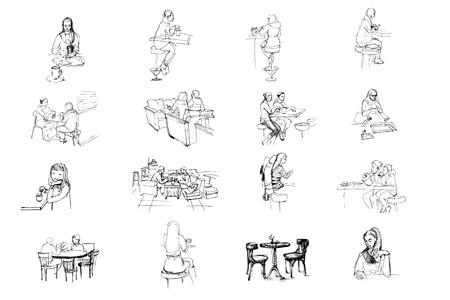 bocetos de personas: vector blanco y negro conjunto de bocetos de personas sentadas en el café Vectores