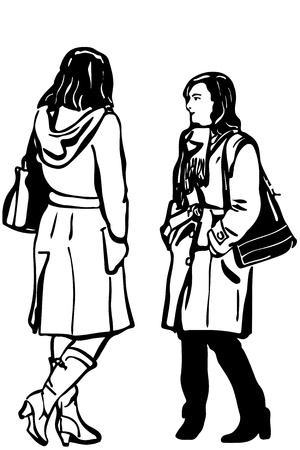 two women talking: black and white vector sketch of two women friends in coat standing talking Illustration