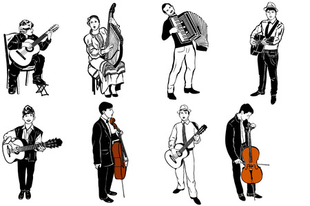 shackles: a vector sketch of musicians playing various musical instruments Illustration