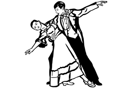 waltz: black and white vector sketch of couple dancing waltz