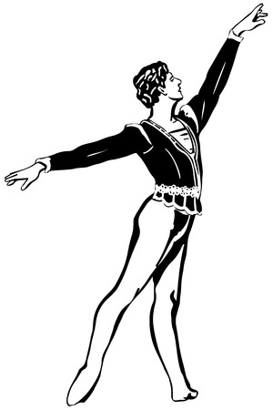 leotard: black and white sketch of a male soloist of classical ballet is in a pose