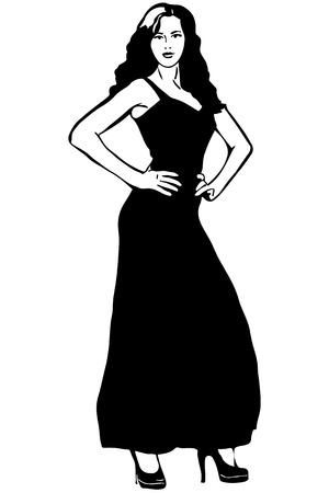 evening dress: black and white sketch of a girl in a long black evening dress Illustration