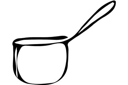 ladle: black and white sketch tableware metal ladle