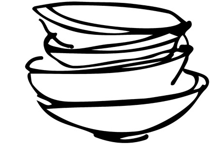 untidy: black and white vector sketch of a pile of dirty dishes