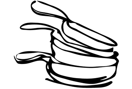 unwashed: black and white vector sketch of a pile of unwashed pans Illustration