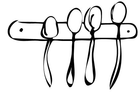 bar tool set: black and white vector sketch of a set of large spoons hanging on the wall