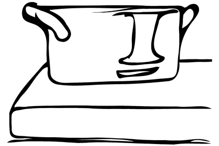 saucepan: black and white vector sketch of a large saucepan standing on the edge of the table Illustration
