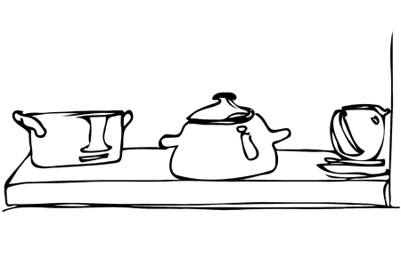 crockery: black and white vector sketch of crockery and pan stand on a shelf Illustration