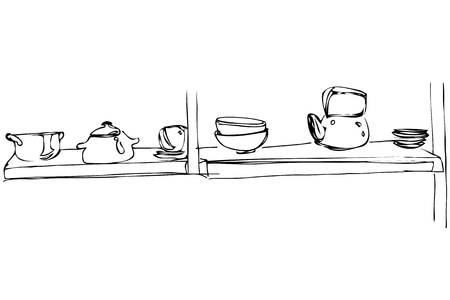 stand teapot: black and white vector sketch of a metal teapot and pan stand on a shelf