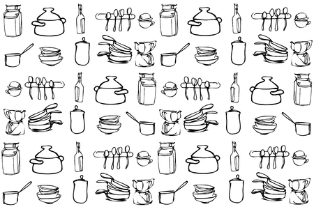 kitchen range: black and white vector sketch of kitchen utensils in the range of wallpaper