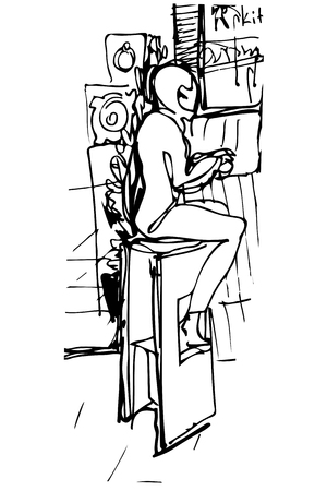 woman drinking coffee: black and white vector sketch of a single woman drinking coffee at the bar on a stool