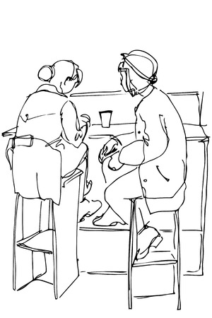 stools: black and white vector sketch of two women on high stools drinking coffee