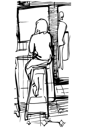 barstool: black and white vector sketch of a single woman drinking coffee at the bar on a stool