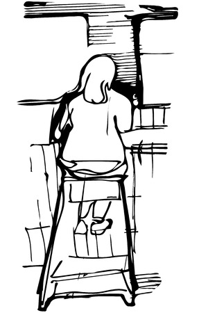 bar stool: black and white vector sketch of a single woman drinking coffee at the bar on a stool