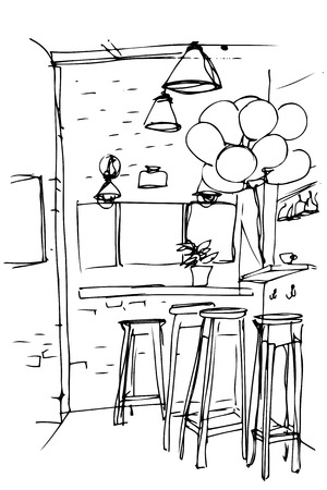 stools: black and white sketch of the high stools in the kitchen Illustration