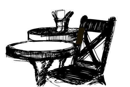 round table: black and white sketch of a wooden chair near the round table Illustration