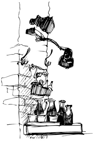 wares: black and white sketch of the lamp on a brick wall of bottles
