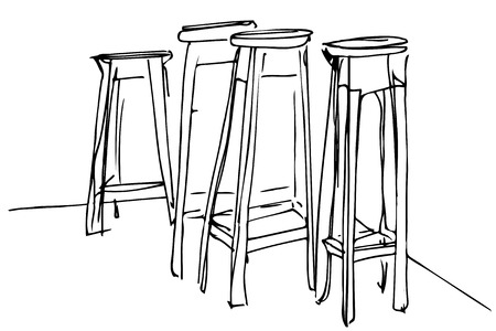 wooden stool: black and white sketch four high wooden stool