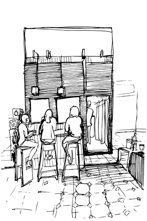 stools: black and white sketch of three women on the high stools drinking coffee Illustration