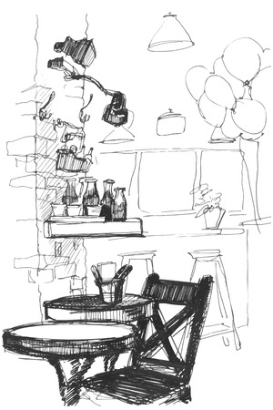 countertop: black and white sketch of a table and chair in the interior of a cafe