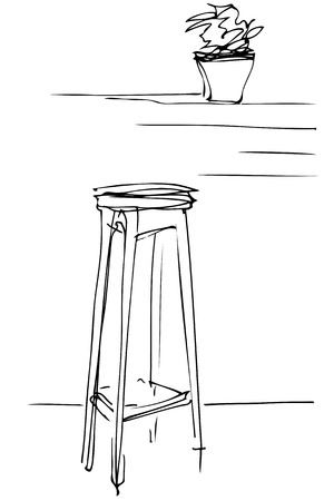 wooden stool: black and white sketch of a tall wooden stool and flower room Illustration