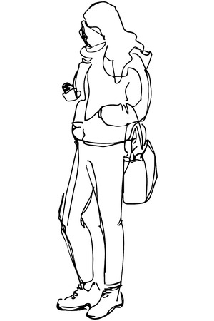 one girl only: black and white sketch of a girl with a bag looking at phone Illustration