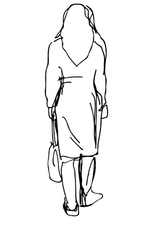 adult only: black and white sketch of a woman with a bag of leaves
