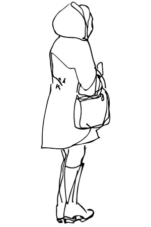 rear view: black and white sketch of a woman with a bag standing with his back to us