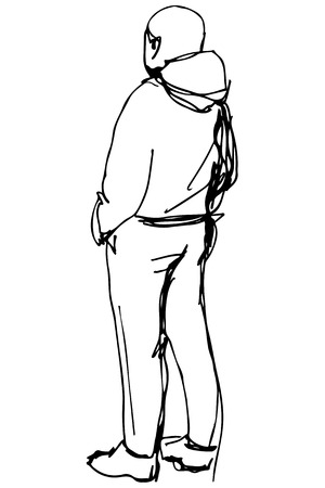 hands behind back: black and white sketch of a man in a jacket with a hood back to us Illustration