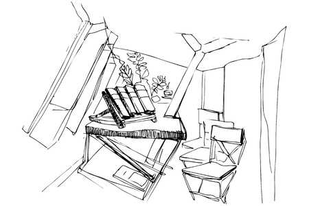 plant stand: black and white sketch of the room with chairs Illustration