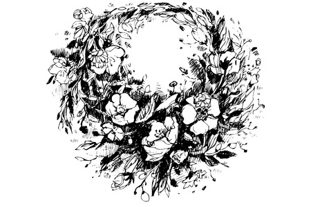 poppies: black and white sketch of a beautiful wreath of poppies